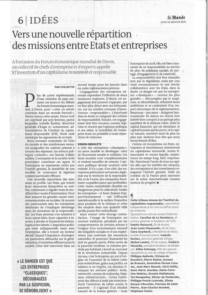 Tribune Vers une nouvelle répartition des missions entre Etats et entreprises ICR_Le Monde_24.01.2018 1 page 001